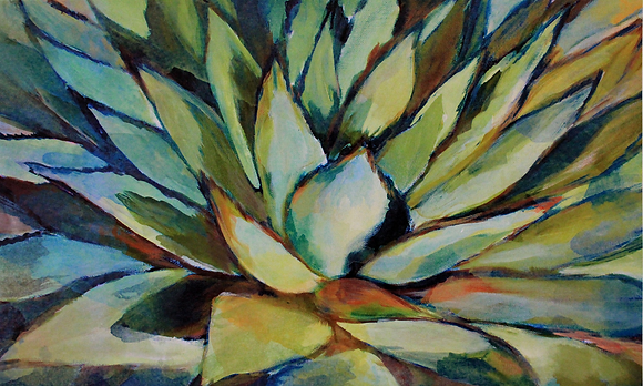 Succulent, Hand Embellished Canvas Giclee