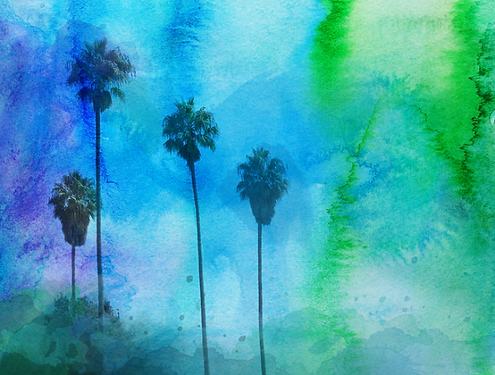 Tropical Trees, Hand Embellished Canvas Giclee
