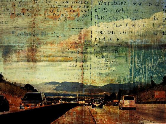 405 Freeway, Hand Embellished Canvas Giclee
