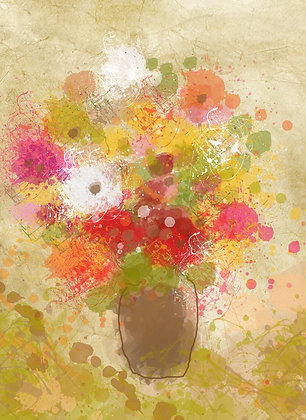 Vase of flowers, Hand Embellished Giclee