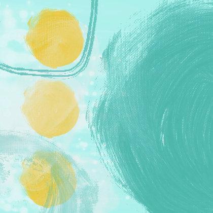 Aqua-Yellow, Hand Embellished Giclee