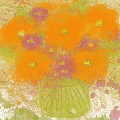 Orange Flowers II , Hand Embellished Giclee