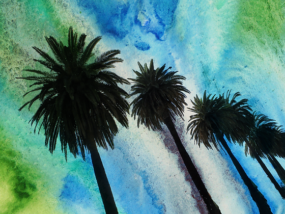 Santa Monica Palms, Hand Embellished Canvas Giclee