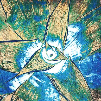 Blue Agave Succulent  Embellished Canvas Giclee