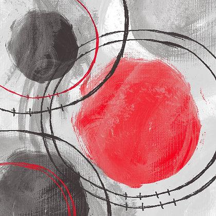 RED BLACK CIRCLES I Hand Embellished Giclee