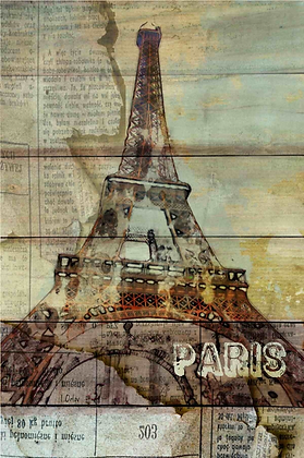 Paris, La Tour Eiffel. Embellished Canvas Giclee