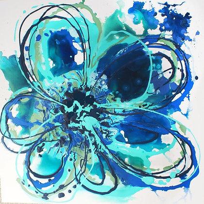 "24 x 24""  Blue Splash Flower  by Irena Orlov"