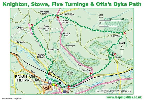 Knighton, Stowe, Five Turnings & Offas Dyke Path