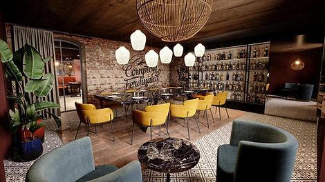 """Photo de la salle """"Salon"""" de chez Comptoir Ferdinand, avec le mur de bouteilles, salle privatisable pour groupes en événements privés ou professionels"""