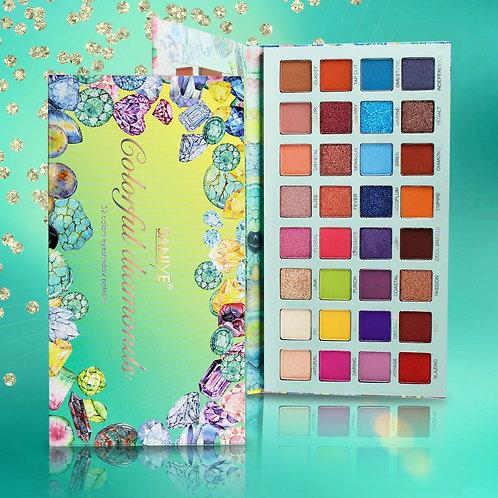 Paleta de sombras T090 Colorful Diamonds SANIYE con 32 tonos (6 Pzas.)