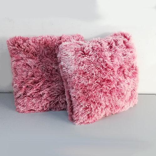 cuscino pelliccia rosa