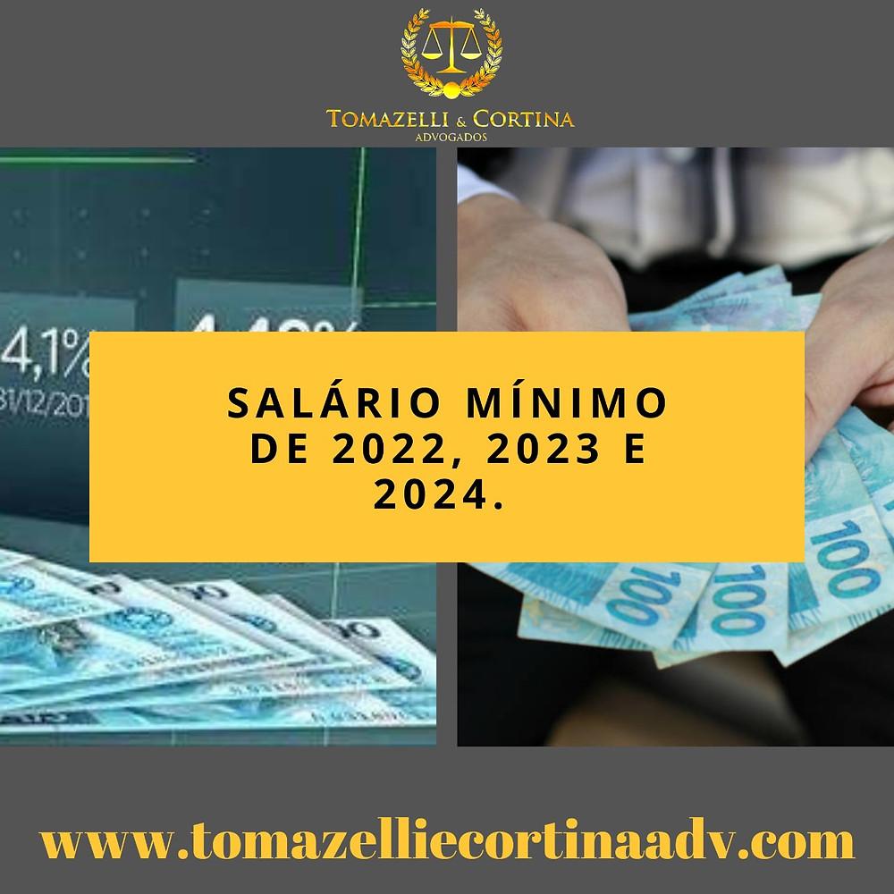Salário mínimo de 2022, 2023 e 2024
