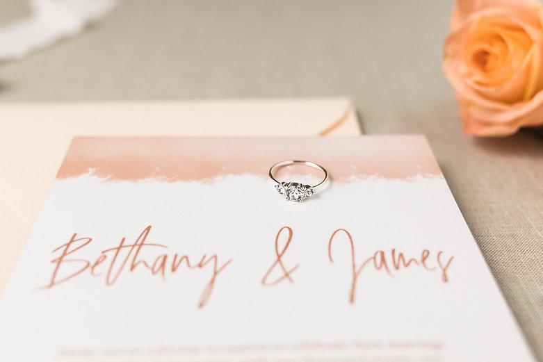 Semi-custom wedding invitations, boho terra cotta design