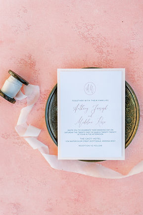 Blush elegant wedding invitation