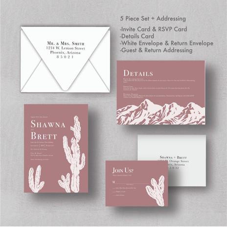 White Cactus Dusty Rose Wedding Invitations