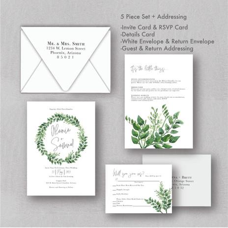 Green Wreath Wedding Invitations