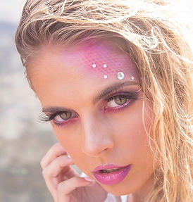 mermaid makeup, costume, halloween, photoshoot, arizona, phoenix, hair, pink eyeshadow, brows, lipstick