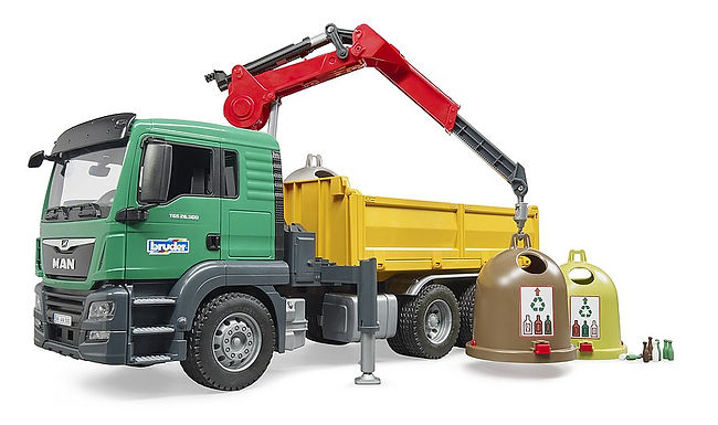 Bruder Man TGS Truck With 3 Glass Recycling Containers & Bottles