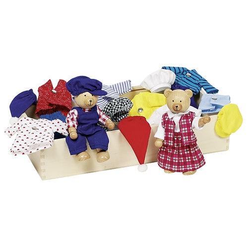 Goki Flexible Puppets - Bear Dress-Up Box, Benna & Bennoh