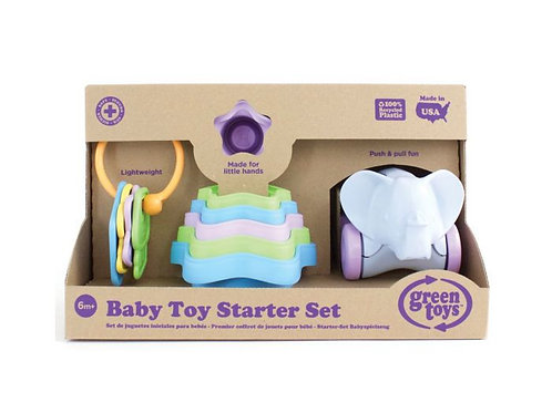 Green Toys Baby Toy Starter Set (First Keys Stacking Cups & Elephant)