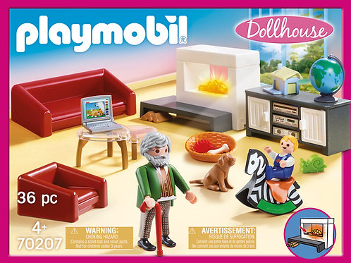 Playmobil 70207 Dollhouse Living Room with Fireplace