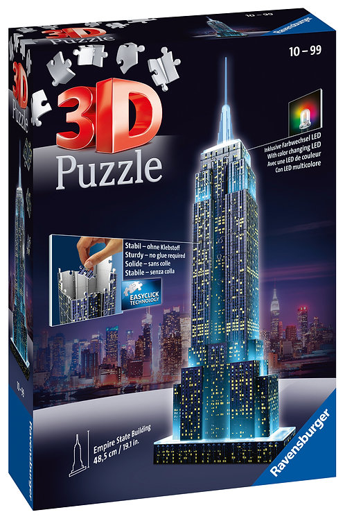 Ravensburger Empire State Building Night Edition 3D Puzzle, 216pcs Jigsaw Puzzle