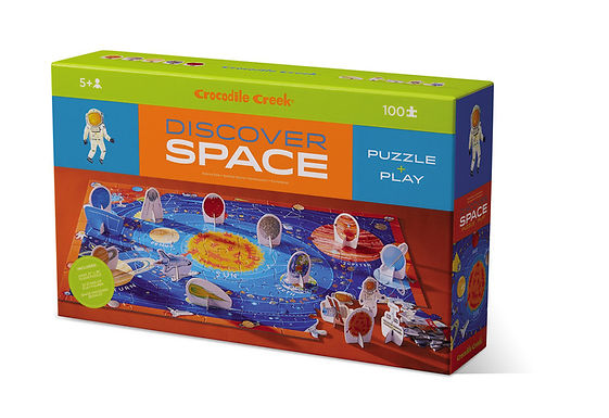 Crocodile Creek Discover Space 100 Piece Educational Puzzle with Fact Book