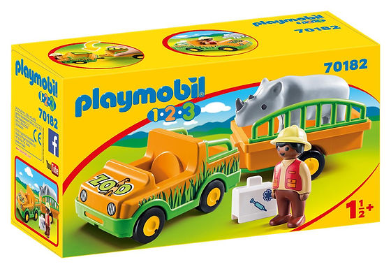 Playmobil 1.2.3 70182 Zoo Truck and Trailer with Rhinoceros