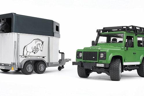 Bruder Land Rover Defender W/Horse Trailer & Horse
