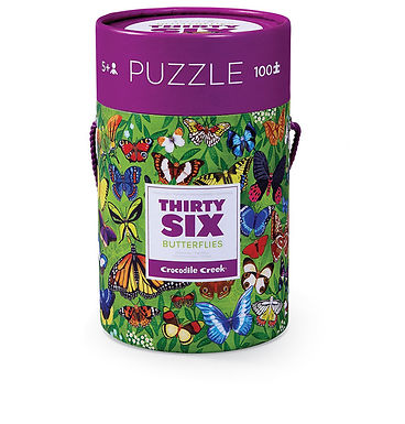 Crocodile Creek Thirty-Six Butterflies 100 piece Jigsaw Puzzle in Canister