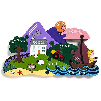 Irish Scene Jigsaw Puzzle (As Gaeilge) - Alphabet Jigsaw