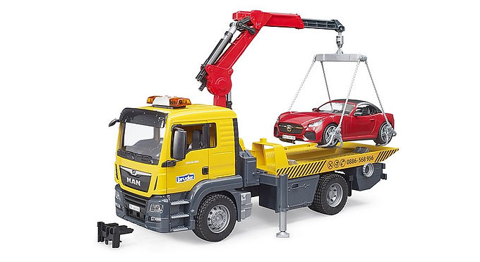 Bruder Man TGS Tow Truck With Bruder Roadster