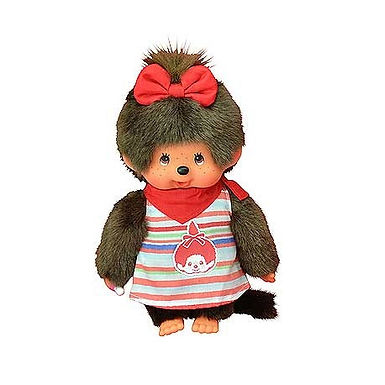 Monchhichi Girl in Red Striped Dress with Motif