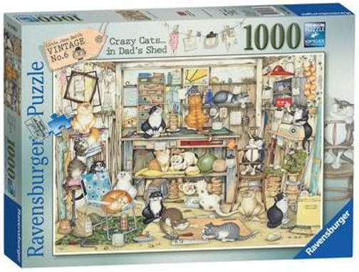 """Ravensburger Crazy Cats """"Vintage"""" No.6 - Dad's Shed 1000pc Jigsaw Puzzle"""