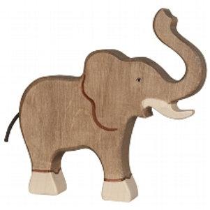Holztiger Elephant, Trunk Raised