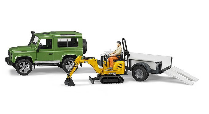 Bruder Land Rover Defender Trailer, JCB Micro Excav. & Worker