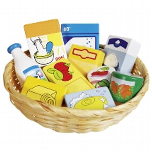Goki Toy Shop Miniatures In A Basket- Food And Household Goods