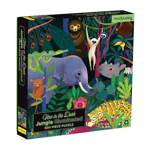 Mudpuppy's Jungle Illuminated 500 Piece Glow in the Dark Puzzle