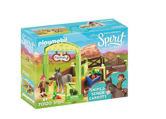 Playmobil DreamWorks Spirit 70120 Snips and Senor Carrots with Horse Stall