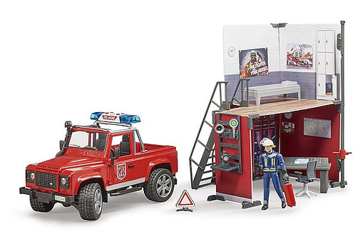 Bruder Bworld Fire Station W/Land Rover & Fireman