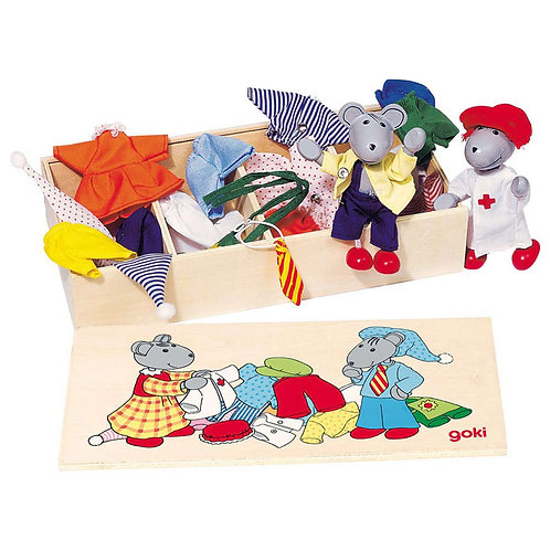 Goki Flexible Puppets Mouse Dress-Up Box, Lia & Luca
