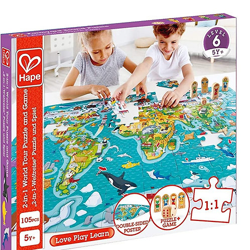 Hape E1626 2-in-1 World Tour Atlas Puzzle And Game