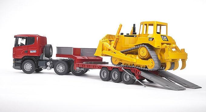Bruder Scania R-Series Low Loader W/Cat Bulldozer