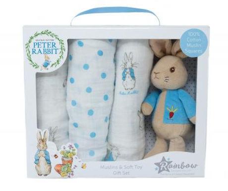 Rainbow Designs Peter Rabbit Soft Toy & Muslin Gift Set