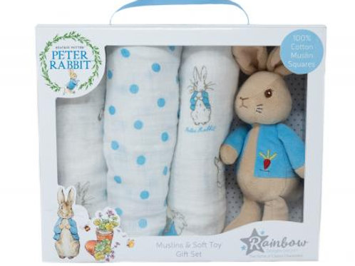 Rainbow Designs Peter Rabbit Soft Toy & Muslin Gift Set