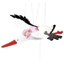 Goki Stork With Baby Swinging Animal