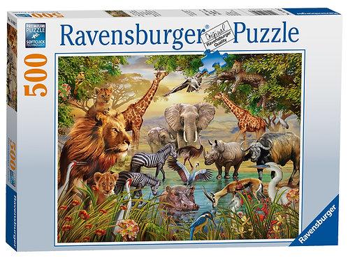 Ravensburger Animals at the Waterhole, 500pc Jigsaw Puzzle