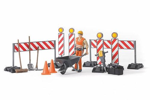 Bruder Bworld Construction Set W/Figure & Accessories