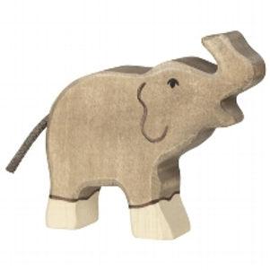 Holztiger Elephant, Small, Trunk Raised