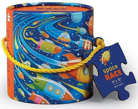 Crocodile Creek's Space Race 24 piece jigsaw puzzle in canister with handle